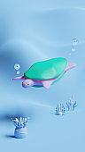 Sea Turtle 3D Rendering Illustration, suitable for world oceans day event, in mobile phone social media story format