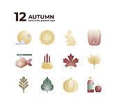 12 Autumn Icon Set In Flat Gradient Style