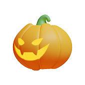 Carved Pumpkin 3D Rendering Illustration Element suitable for Halloween event