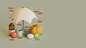 Autumn web page template with 3d rendering illustration