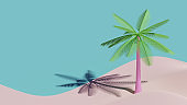 Summer Landing Page Template With Coconut Tree 3D Rendering