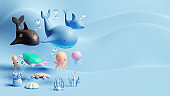 World Oceans Day Landing Page Template With Sea Animals 3D Rendering