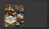 Eid Mubarak Landing Page Template With 3D Rendering Isometric Composition
