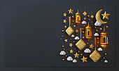 Eid Mubarak Landing Page Template With 3D Rendering Of Ketupat, Lantern, Crescent, Star, And Cloud Composition