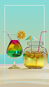 Summer Glass And Jar 3D Rendering Illustration, suitable for holiday, vacation, tourism, and summer theme