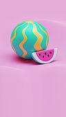 Summer Watermelon 3D Rendering Illustration 06, suitable for holiday, vacation, tourism, or summer theme