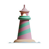 Summer Lighthouse 3D Rendering Illustration, suitable for summer, tourism, holiday, or vacation event theme.