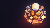Mid autumn landing page template with sky lantern 3d rendering