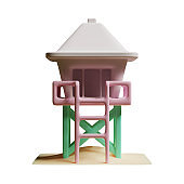 Lifeguard Tower 3D Rendering Illustration, suitable for summer, tourism, holiday, or vacation event theme.