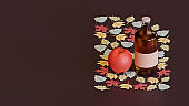 Autumn landing page template with apple cider 3d rendering