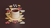 Autumn landing page template with hot drink 3d rendering