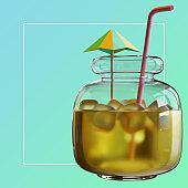 Summer Social Media Post Template With Beverage In Jar 3D Rendering