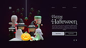 Halloween landing page template with 3d rendering illustration composition