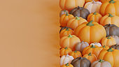 Autumn landing page template with pumpkins 3d rendering
