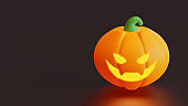 Halloween landing page template with carved pumpkin 3d rendering illustration