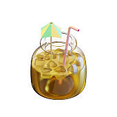 Summer Beverage In Jar 3D Rendering Illustration, suitable for summer, tourism, holiday, or vacation event theme.