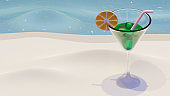 Summer Landing Page Template With Summer Drink 3D Rendering