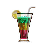 Summer Highball Glass 3D Rendering Illustration, suitable for summer, tourism, holiday, or vacation event theme.
