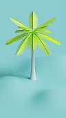 Summer Coconut Tree 3D Rendering Illustration, suitable for holiday, vacation, tourism, or summer theme