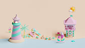 Summer web page template with isometric beach 3D rendering illustration composition