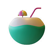 Summer Coconut 3D Rendering Illustration suitable for summer, tourism, holiday, or vacation event theme.