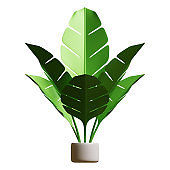 Summer Banana Leaf Plant 3D Rendering Illustration, suitable for summer, tourism, holiday, or vacation event theme.