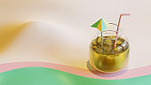 Summer Landing Page Template With Beverage In Jar 3D Rendering