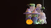 Halloween landing page template with 3d rendering illustration