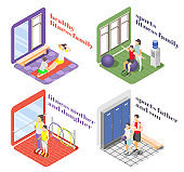 Healthy Fitness Family 2x2 Design Concept