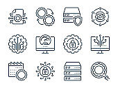 Data science, Network and Computer technology related vector line icons. Machine learning and computing outline icon set.