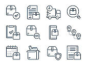 Delivery and Shipping service related vector line icons. Package and Logistics outline icon set.