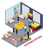 Clothing Factory Isometric Composition
