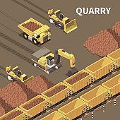 Mining Machinery Isometric Illustration