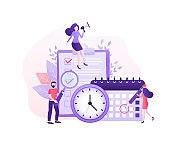 Flat time management for report design. Isometric vector illustration. Time management. Flat vector illustration. Organize agenda.