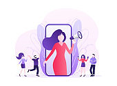 Flat advertising. Social media marketing. Phone icon vector. Flat advertising with people smartphone megaphone.