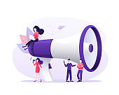 Modern flat advertising with megaphone people for promotion design. Icon for concept design. Digital social marketing. Communication concept.