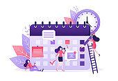 Flat catroon illustration with planning people. Flat vector illustration. Organize agenda.