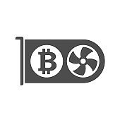bitcoin video card silhouette vector icon isolated on white. bitcoin cryptocurrency farm icon for web, mobile apps, ui design and print