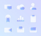 glass morphism trendy style icon set. transparent glass color vector icons with blur and purple gradient. for web and ui design, mobile apps and promo business polygraphy