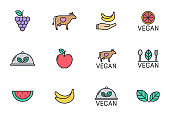 Vegan color filled vector icons. Vegan color outline icon set isolated on white background. Organic, healthy, non violent, vegan food logo icons for web, mobile app, ui design and print