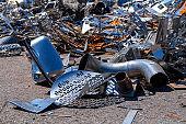 Pile of Aluminium and metal scrap for recycle
