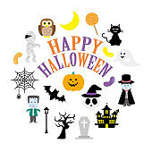 Assorted colorful and cute Halloween illustrations