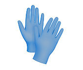 Medical nitrile gloves. Two blue surgical gloves isolated on white background with hands. Rubber glove manufacturing, human hand is wearing a latex glove. Doctor or nurse putting on protective gloves