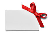 note greeting card red ribbon