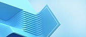 Creative idea. Abstract Background. Wavy stripes paper cut and Geometry shape concept for futuristic on Blue. design for banner, website, Copy space - 3d rendering