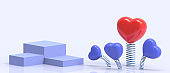 Love Podium Valentine's day on Blue Background and Red Heart Stage Concept. banner for greeting card, copy space- 3d rendering