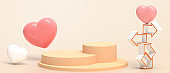 Minimal Podium stage and Valentine's day in Love and Arrow Concept with Balloons Red Heart. showcase banner on Yellow Background - 3d rendering