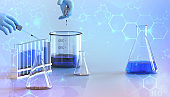 Development and research of laboratory chemicals liquid with the hands of scientists and chemical fluids to test. study for making vaccine- 3d rendering