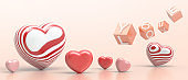 Love for Valentine's day on Red Background and love You and Red hearts with flipping cubes block.banner,Copy Space,greeting card - 3d rendering