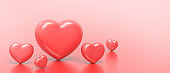 Love Valentine's day on Red Background and Red hearts showing Concept. banner for greeting card ,Copy Space - 3d rendering